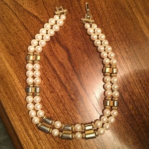 Vintage Double Strand Pearl and Gold Necklace